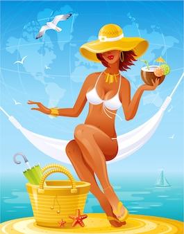 Garota da praia. mulher sexy verão chapéu de palha sentado na rede com um cocktail. menina de bronzeado de sol dos desenhos animados em traje de banho biquíni