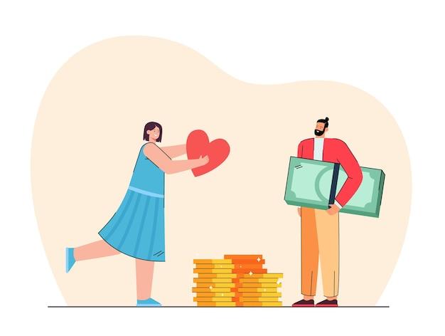 Garota dando amor a um homem rico. ilustração plana