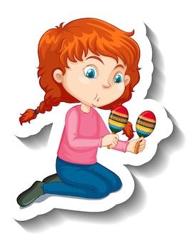 Garota de adesivo de personagem de desenho animado tocando instrumento musical de maracas