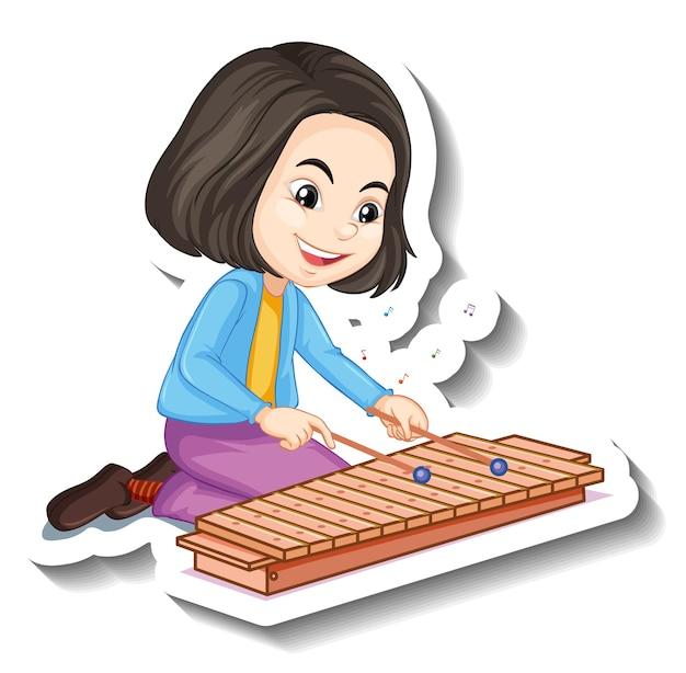 Garota de adesivo de personagem de desenho animado tocando instrumento musical de xilofone