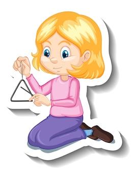 Garota de adesivo de personagem de desenho animado tocando instrumento musical triangular