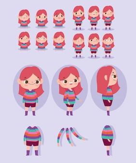 Garota de animação de personagem de desenho animado, vestida de listras e algumas partes do corpo