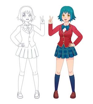 Garota de anime manga. meninas da escola bonito de quadrinhos japoneses de uniforme para colorir a página do livro. contorno de vetor de corpo inteiro de personagem de desenho animado para crianças. ilustração manga girl japonesa, uniforme escolar