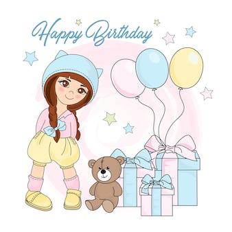 Garota de aniversário cor ilustração vetorial definida para scrapbooking
