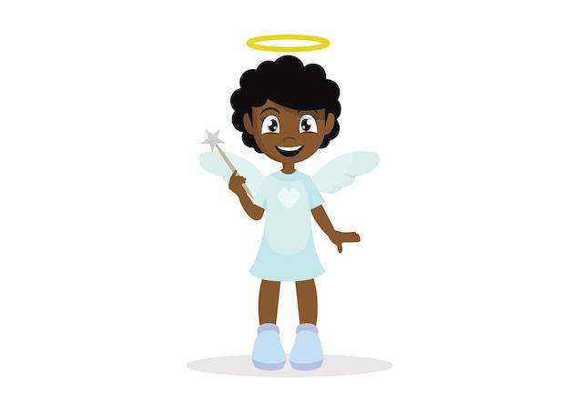 Garota de anjo africano.
