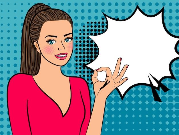 Garota de arte pop com sinal de ok e bolha do discurso