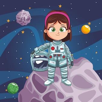 Garota de astronauta no espaço