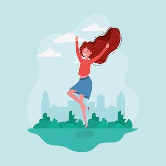 Garota de avatar pulando no parque