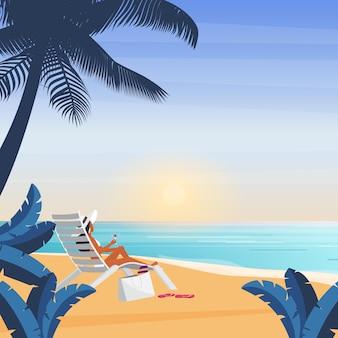 Garota de biquíni deitada na espreguiçadeira mar praia garota de férias tropicais com chapéu descansando na cadeira