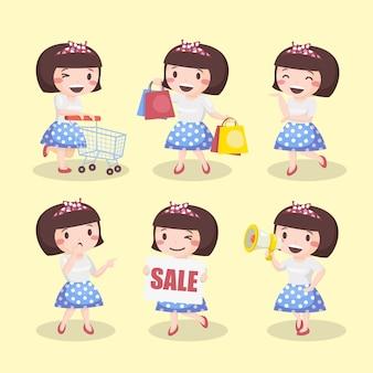 Garota de cabelo curto bonito com pacote de roupas vintage