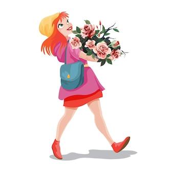 Garota de cabelo vermelho andando e carregando um enorme buquê de flores nas mãos