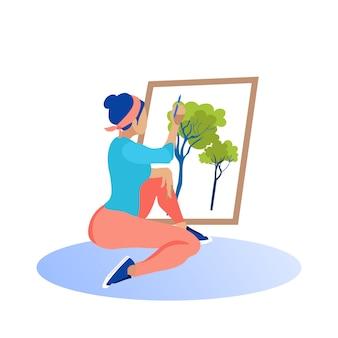 Garota de calça vermelha desenha a imagem na tela ...