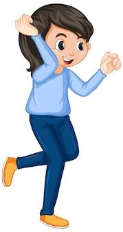 Garota de camisa azul dançando em branco
