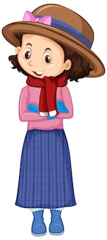 Garota de camisa rosa sorrindo em branco