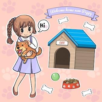 Garota de caráter de vetor e filhote de cachorro