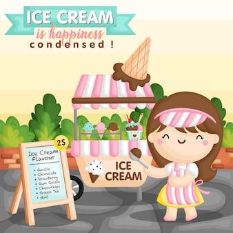 Garota de carrinho de sorvete