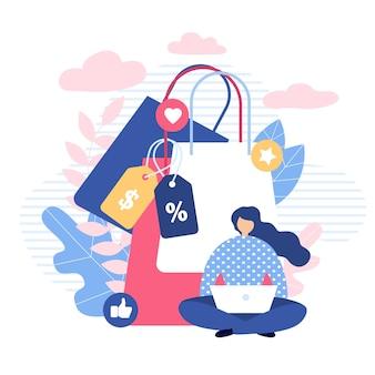 Garota de compras on-line no laptop metáfora dos desenhos animados