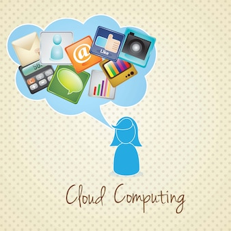 Garota de computação em nuvem se comunicando no fundo vintage ilustração vetorial