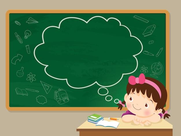 Garota de crianças pensando e lousa