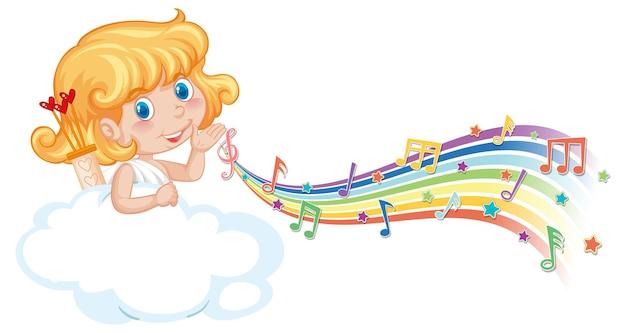 Garota de cupido na nuvem com símbolos de melodia no arco-íris