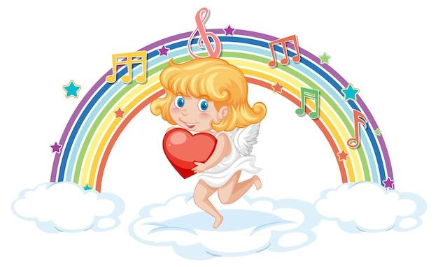 Garota de cupido segurando um coração com símbolos de melodia no arco-íris