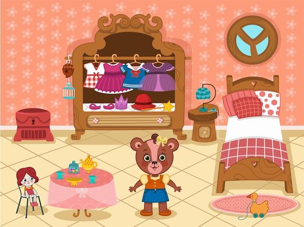 Garota de desenho animado urso personagem em seu quarto.