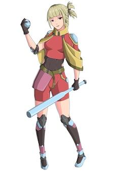 Garota de desenho de personagem traz um bastão
