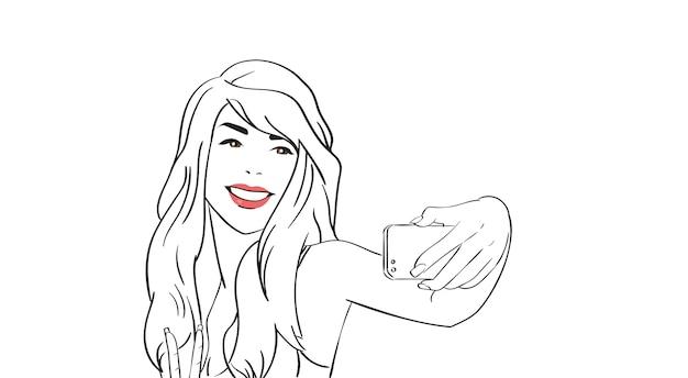 Garota de desenho tirar foto de selfie no telefone inteligente de celular