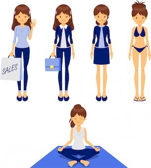 Garota de design plano, atividades diferentes