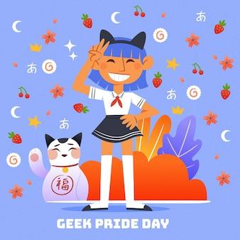 Garota de dia de orgulho nerd usando bandana e gato