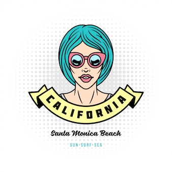 Garota de estilo pop art positivo ou mulher em óculos de sol