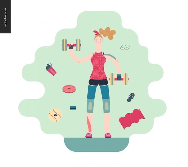 Garota de ginástica exercitando