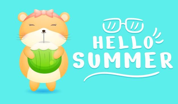 Garota de hamster fofa segurando suco de coco com faixa de saudação de verão