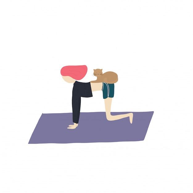Garota de ioga e gato fazem exercícios