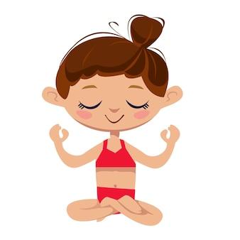 Garota de ioga engraçada sentada em posição de lótus ilustração vetorial em estilo de desenho animado infantil