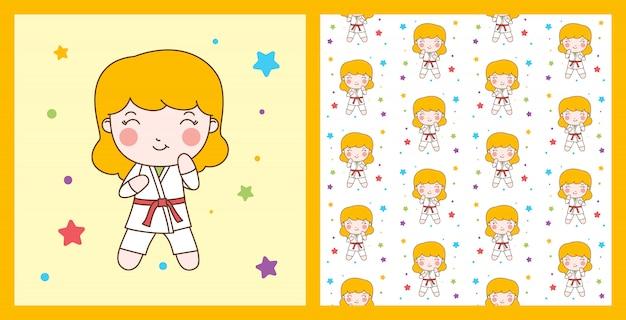 Garota de karatê com personagem de faixa vermelha com fundo