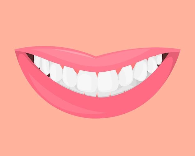 Garota de lábios com um lindo sorriso de neve e dentes