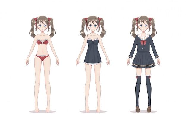 Garota de mangá de anime. na cueca de renda, sutiã, camisa, terno de escola com arcos.