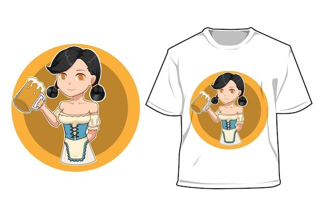 Garota de maquete com ilustração de cerveja