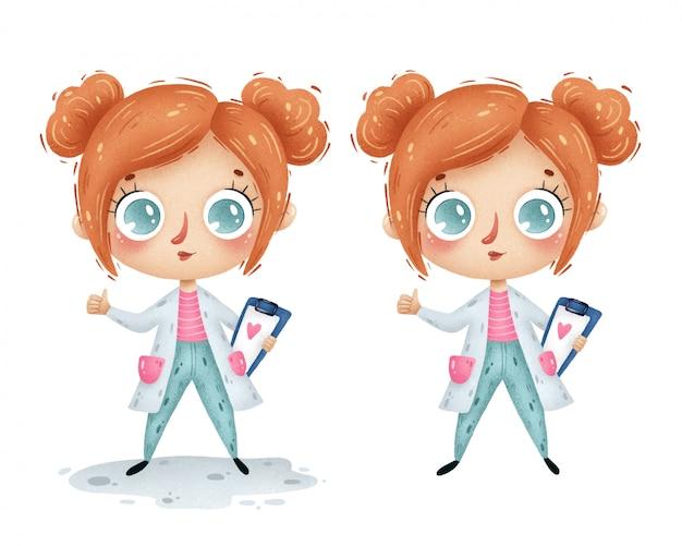 Garota de médico bonito dos desenhos animados com cabelo vermelho em um jaleco branco sobre um fundo branco