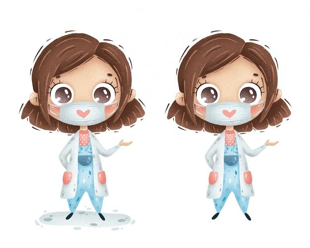 Garota de médico bonito dos desenhos animados com cabelos castanhos e uma máscara médica em um jaleco branco sobre um fundo branco