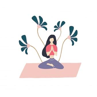 Garota de meditação e flores