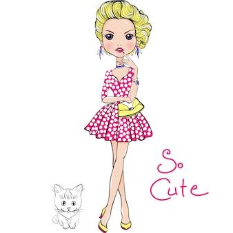 Garota de moda bonito vetor pop art com gato