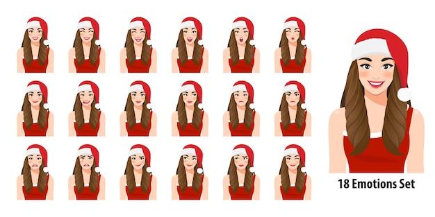 Garota de natal com vestido vermelho e chapéu de papai noel com diferentes expressões faciais definidas isoladas na ilustração do estilo do personagem de desenho animado