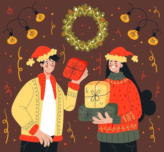 Garota de natal segurando uma caixa de presente com o texto de celebração feliz natal