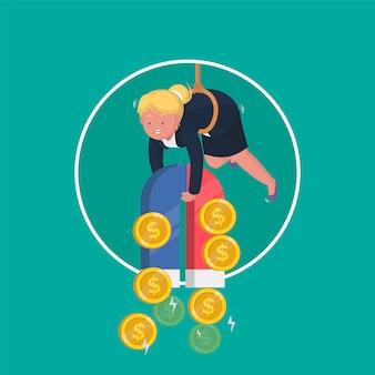 Garota de negócios usando um grande ímã para atrair dinheiro