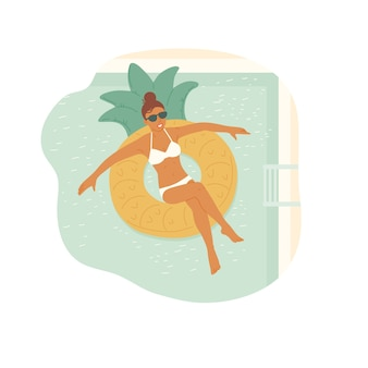 Garota de óculos escuros e maiô nada em um anel de borracha na piscina. férias relaxantes.
