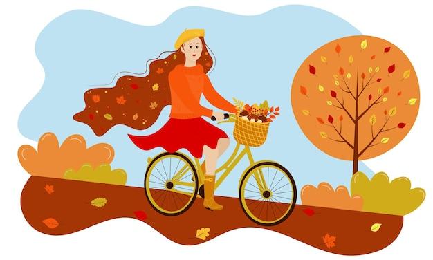 Garota de outono anda de bicicleta no parque folhas de outono em seu cabelo a cesta está cheia de presentes de outono