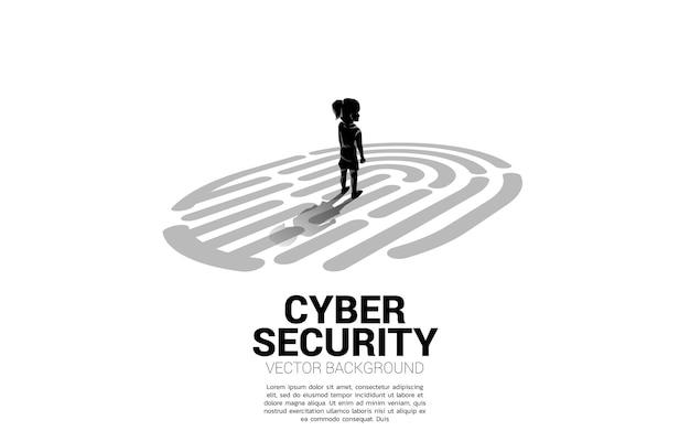 Garota de pé no ícone de digitalização do dedo. conceito de segurança infantil e tecnologia de privacidade na rede