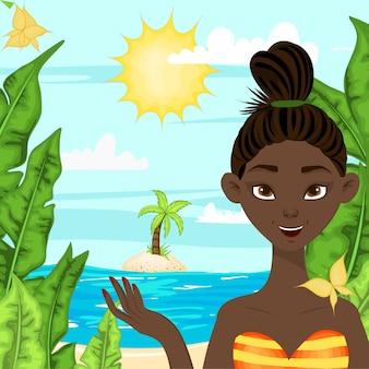 Garota de pele escura em um fundo de uma paisagem de verão